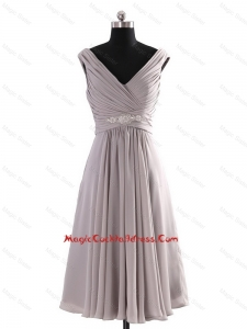 Most Popular V Neck Short Beading Grey Cocktail Dresses for Graduation