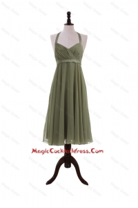 Simple Belt Halter Top Short Cocktail Dresses in Olive Green