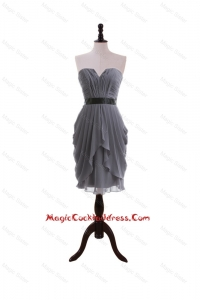 Simple Column Sweetheart Cocktail Dresses with Belt in Grey