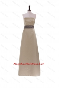 2016 New Style Column Strapless Brown Long Cocktail Dresses