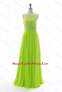 Brand New Halter Top Spring Green Long Cocktail Dresses with Beading