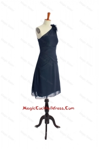 Brand New One Shoulder Hand Made Flowers Short Navy Blue Cocktail Dresses