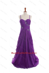 Cheap Appliques and Beading Eggplant Purple Cocktail Dresses with Sweep Train