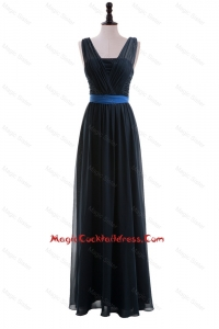 Custom Made Empire Straps Cocktail Dresses with Ribbons in Navy Blue