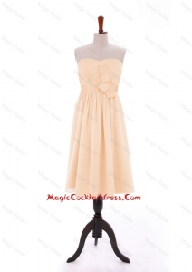 Discount 2016 Bowknot Peach Short Cocktail Dresses in Chiffon