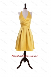 Exclusive 2016 Ruching Halter Top Short Cocktail Dress in Gold