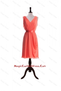 Gorgeous Empire V Neck Cocktail Dresses with Sashes in Watermelon
