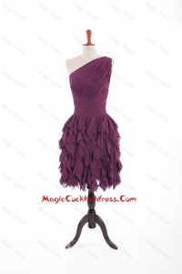 Inexpensive Burgundy Short Cocktail Dresses with Belt and Ruching