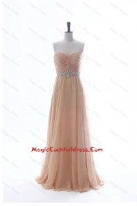Most Popular Beading Long Cocktail Dresses in Peach for 2016 Summer