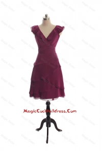 The Super Hot V Neck Burgundy Short Cocktail Dresseswith Ruffles