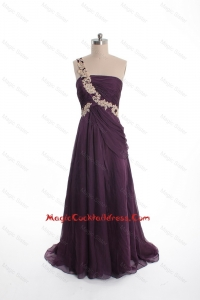 Brand New Appliques Sweep Train Purple Cocktail Dresses with One Shoulder