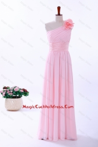 Custom Made Empire One Shoulder Hand Made Flowers Cocktail Dresses in Baby Pink