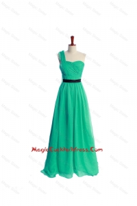 Discount Ruching and Belt One Shoulder Green Long Cocktail Dress
