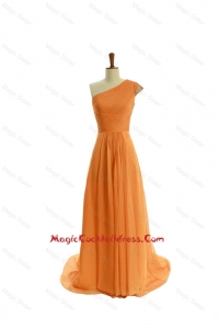 Gorgeous Ruching One Shoulder Orange Cocktail Dresses with Brush Train