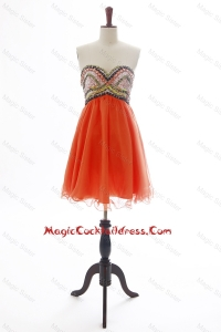 The Brand New Beading Orange Red Short Cocktail Dress for 2016