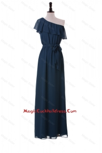 Sexy One Shoulder Sashes and Ruffles Cocktail Dresses in Navy Blue
