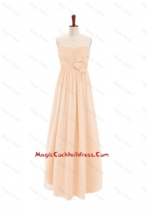 2016 Customize Sweetheart Bowknot Peach Cocktail Dress in Chiffon