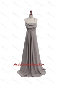 2016 Fall Empire Halter Top Ruching Cocktail Dresses with Brush Train