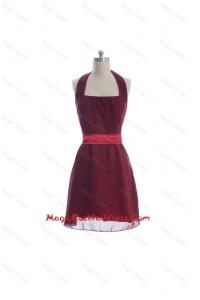 Beautiful Halter Top Belt Burgundy Short Cocktail Dresses