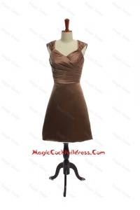 Cheap Ruching Short Cocktail Dresses in Brown for 2016