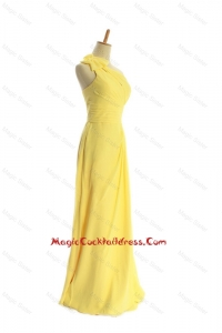 Classical One Shoulder Long Yellow Cocktail Dresses with Bowknot