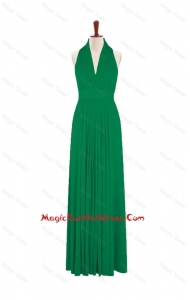 Exquisite 2016 Summer Halter Top Green Long Cocktail Dresses with Pleats