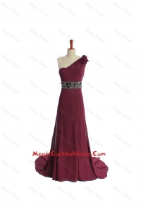 Gorgeous One Shoulder Burgundy Cocktail Dress with Beading and Belt