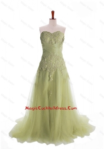 Luxurious Appliques Brush Train Long Cocktail Dresses in Olive Green