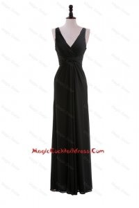 Sexy Empire V Neck Ruching Black Cocktail Dresses for Holiday