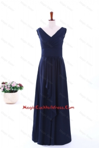 Simple Empire V Neck Cocktail Dresses in Navy Blue