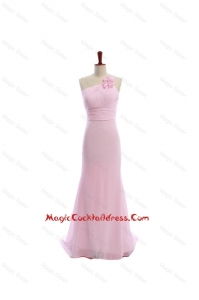 Vintage Baby Pink Brush Train Cocktail Dresses with Hand Made Flowers