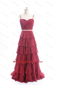 Vintage Brush Train Belt and Ruffled Layers Cocktail Dresses in Wine Red