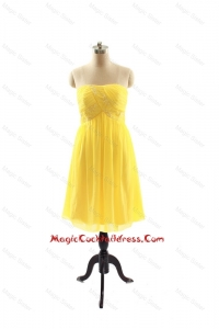 Vintage Yellow Short Cocktail Dresses with Ruching for 2016