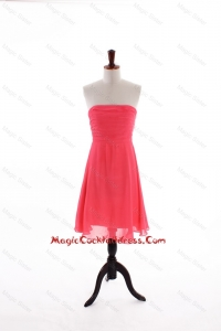 2016 Summer Empire Strapless Cocktail Dresses with in Coral Red