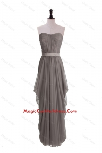 Discount Grey Long Cocktail Dresses with Ruching and Belt