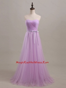 Vintage Sweetheart Lilac Long Cocktail Dresses with Sweep Train