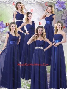 2016 New Style Empire Floor Length Cocktail Dresses in Navy Blue