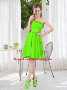 A Line Strapless Bowknot Custom Made Cocktail Dresses in Spring Green