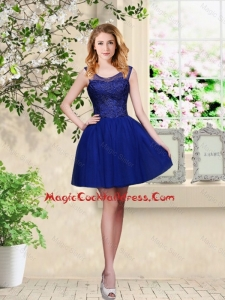 Decent Short Appliques Scoop Cocktail Dresses in Royal Blue