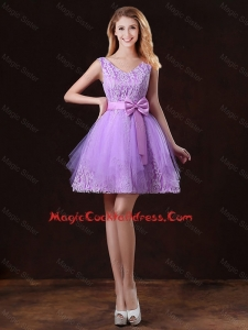 Discount V Neck Tulle Cocktail Dresses with Bowknot