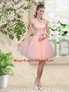 Elegant Sweetheart Baby Pink Cocktail Dresses with Appliques and Belt