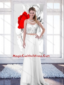 2015 New Style Empire Scoop White Cocktail Dresses with Brush Train
