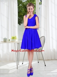 2016 Fall Straps Short Cute Cocktail Dresses in Royal Blue