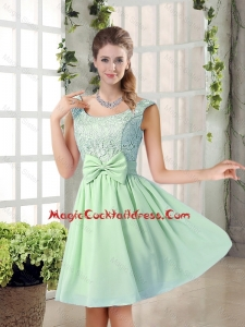 Elegant A Line Straps Lace Cute Cocktail Dresses with Bowknot