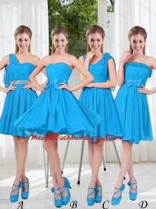 Exclusive 2016 Cute Cocktail Dresses with Ruching in Blue