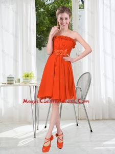 Summer A Line Strapless Bowknot Cute Cocktail Dress in Rust Red