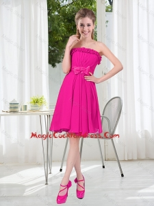 Summer A Line Strapless Short Cute Cocktail Dresses with Bowknot