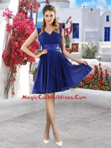 Discount V Neck Short Cute Cocktail Dresses in Royal Blue