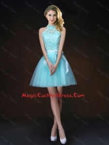 Elegant Halter Top Laced Cute Cocktail Dresses with Appliques