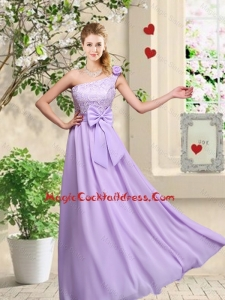 Fashionable One Shoulder Cute Cocktail Dresses with Hand Made Flowers